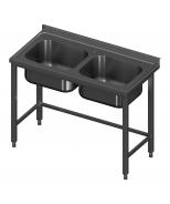 Igilintas stalas su dvejomis plautuvėmis be lentynos Image
